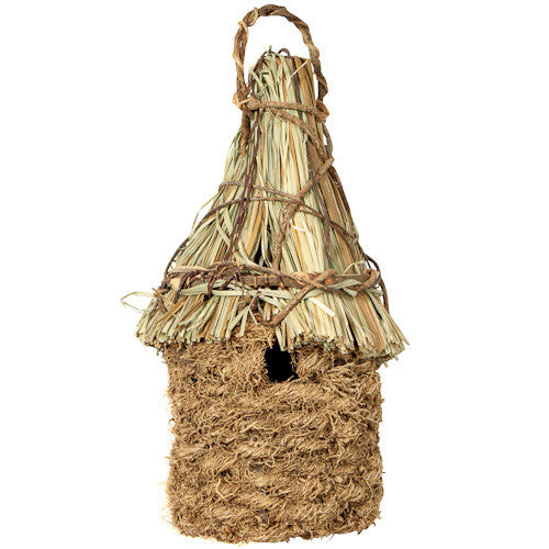 Vetiver Birdhouse w/Straw Roof from Haiti