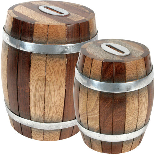 Wooden Barrel Bank from India