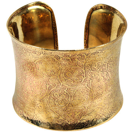Bronze Cuff with Vine Detail from India - Green Valley Packaging