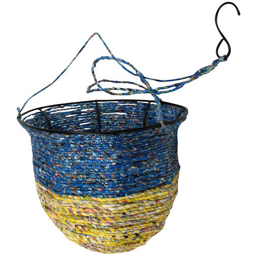 Recycled Candy Wrapper Hanging Basket from India