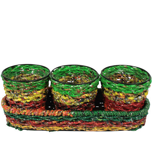 Set of 3 Recycled Candy Wrapper Planters from India