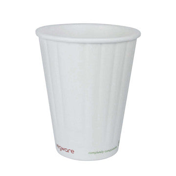 12 oz Double Wall Ripple Hot Cup - Vegware compostable
