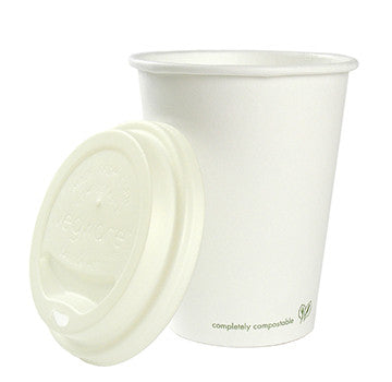 12 oz Hot Cup - Vegware fully compostable, lined with PLA & corn starch lids