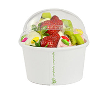 PLA Ice Cream Dome Lid (for 12-32 oz Soup/Ice Cream Cups) - Green Valley Packaging