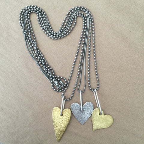 Metal heart pendant necklaces