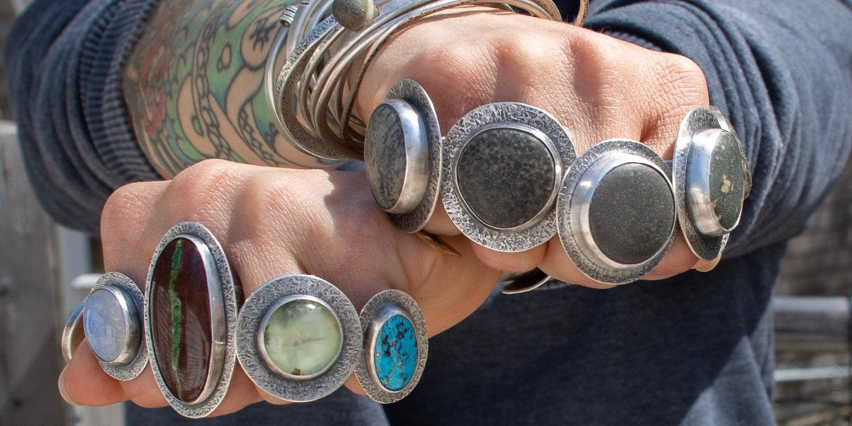 Hand forged beach stone jewelry