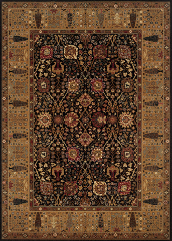 Couristan Royal Kashimar Cypress Garden Black/Deep Maple Machine Loomed Area Rug