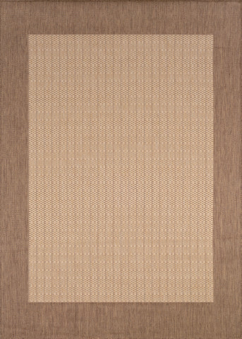 Couristan Recife Checkered Field Natural/Cocoa Machine Loomed Area Rug
