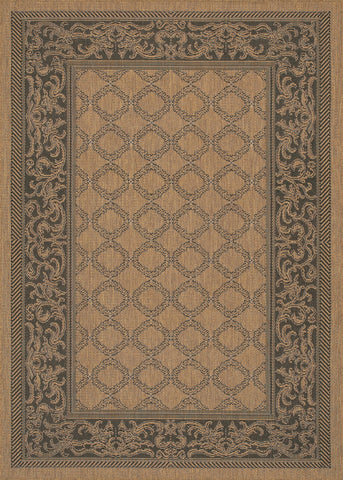 Couristan Recife Garden Lattice Cocoa/Black Machine Loomed Area Rug