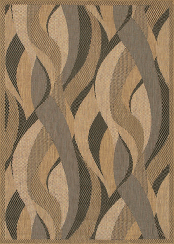 Couristan Recife Seagrass Natural/Black Machine Loomed Area Rug