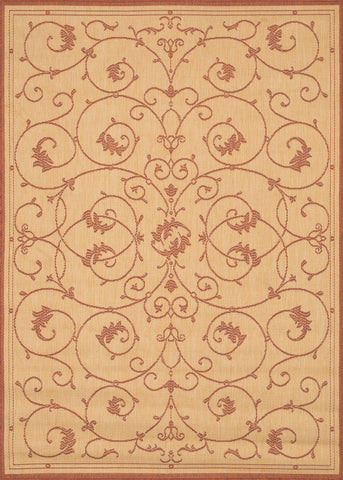 Couristan Recife Veranda Natural/Terra Cotta Machine Loomed Area Rug