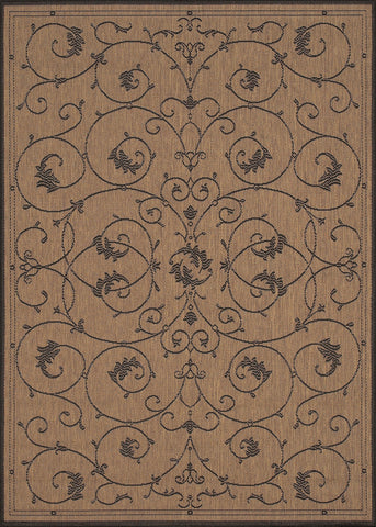 Couristan Recife Veranda Cocoa/Black Machine Loomed Area Rug