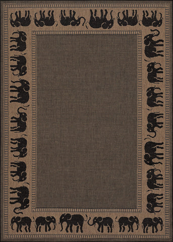 Couristan Recife Elephant Cocoa/Black Machine Loomed Area Rug