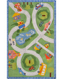 Rug Market America Kids Road Trip Green/Red/Blue/Yellow Area 2' 8'' X 4' 8''
