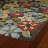 Kaleen Habitat Salty Leaves-02 Mocha Area Rug Close-up Shot