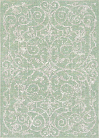 Couristan Monaco Summer Quay Ivory/Lt Green Area Rug