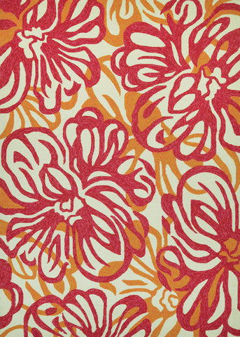 Couristan Covington Hibiscus Rosebud/Honey Area Rug