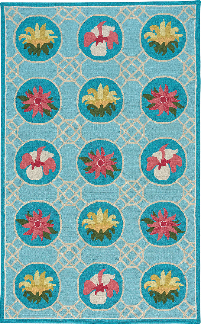 Capel Anthony Baratta Lattice 2337 Sky Blue Area Rug Rectangle/Vertical Stripe Rectangle