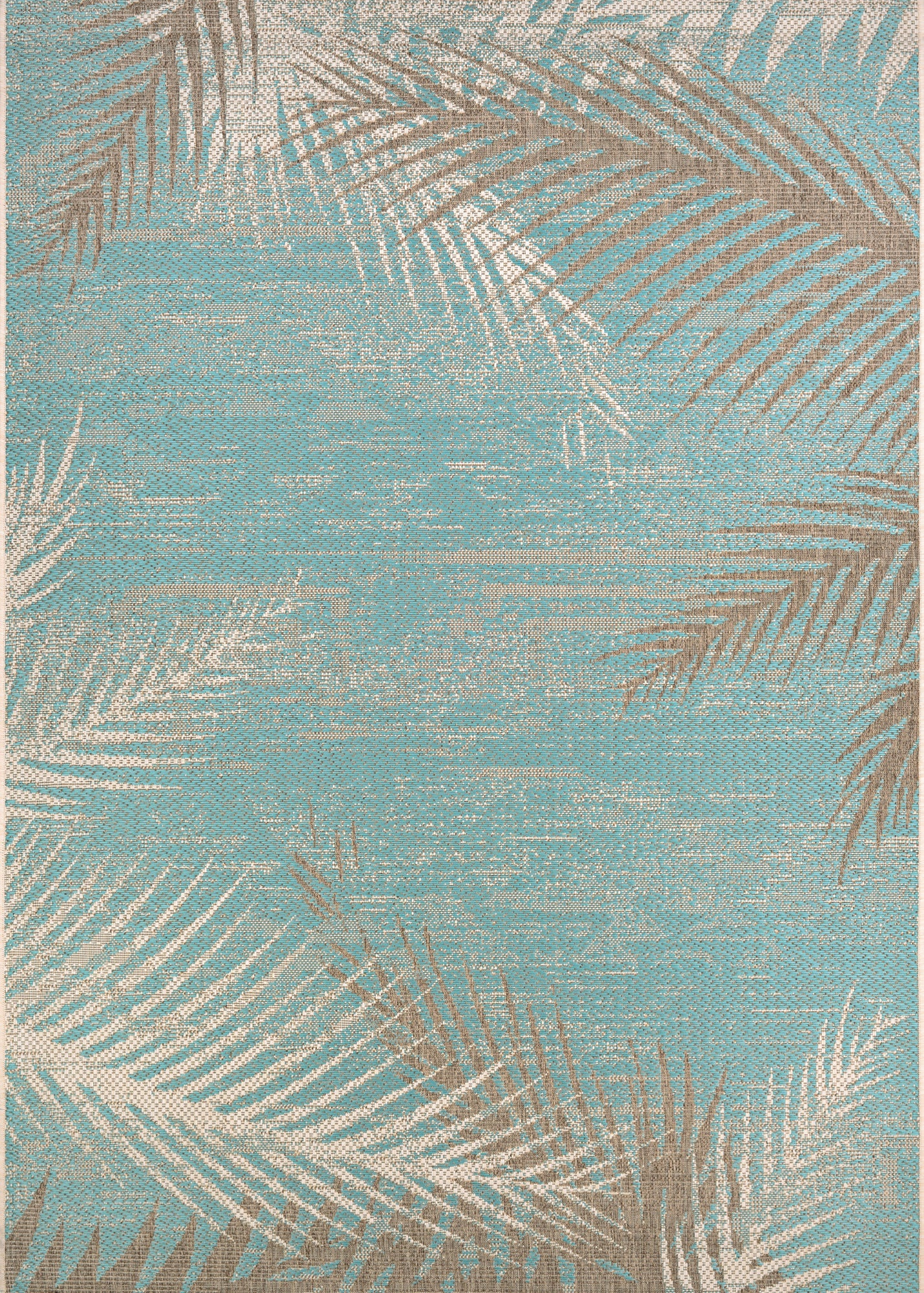 Couristan Monaco Tropical Palms Aqua Area Rug main image