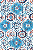 Rug Market America CO Tile White White/Blue/Orange Area 5' 0'' X 7' 5''