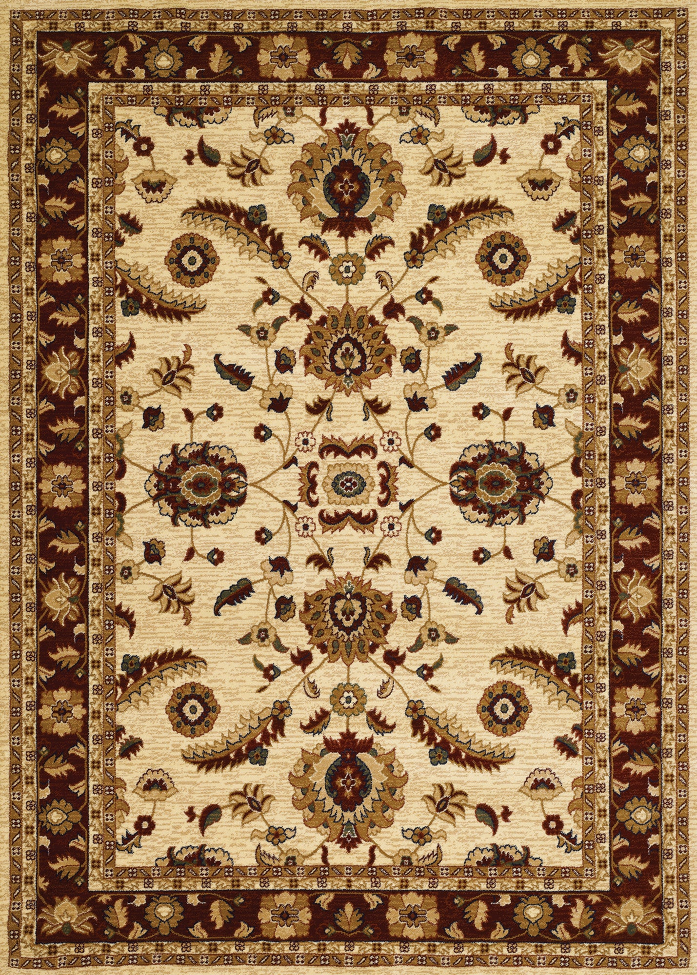 Couristan Anatolia Floral Heriz Cream Red Area Rug Incredible Rugs