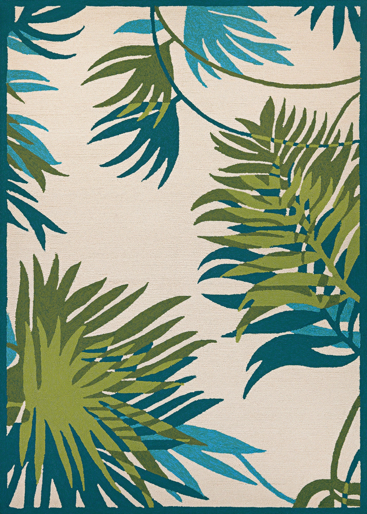 Couristan Covington Jungle Leaves Ivory/Forest Green Area Rug