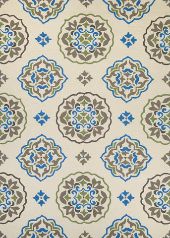 Couristan Covington San Clemente Cream/Blue Area Rug