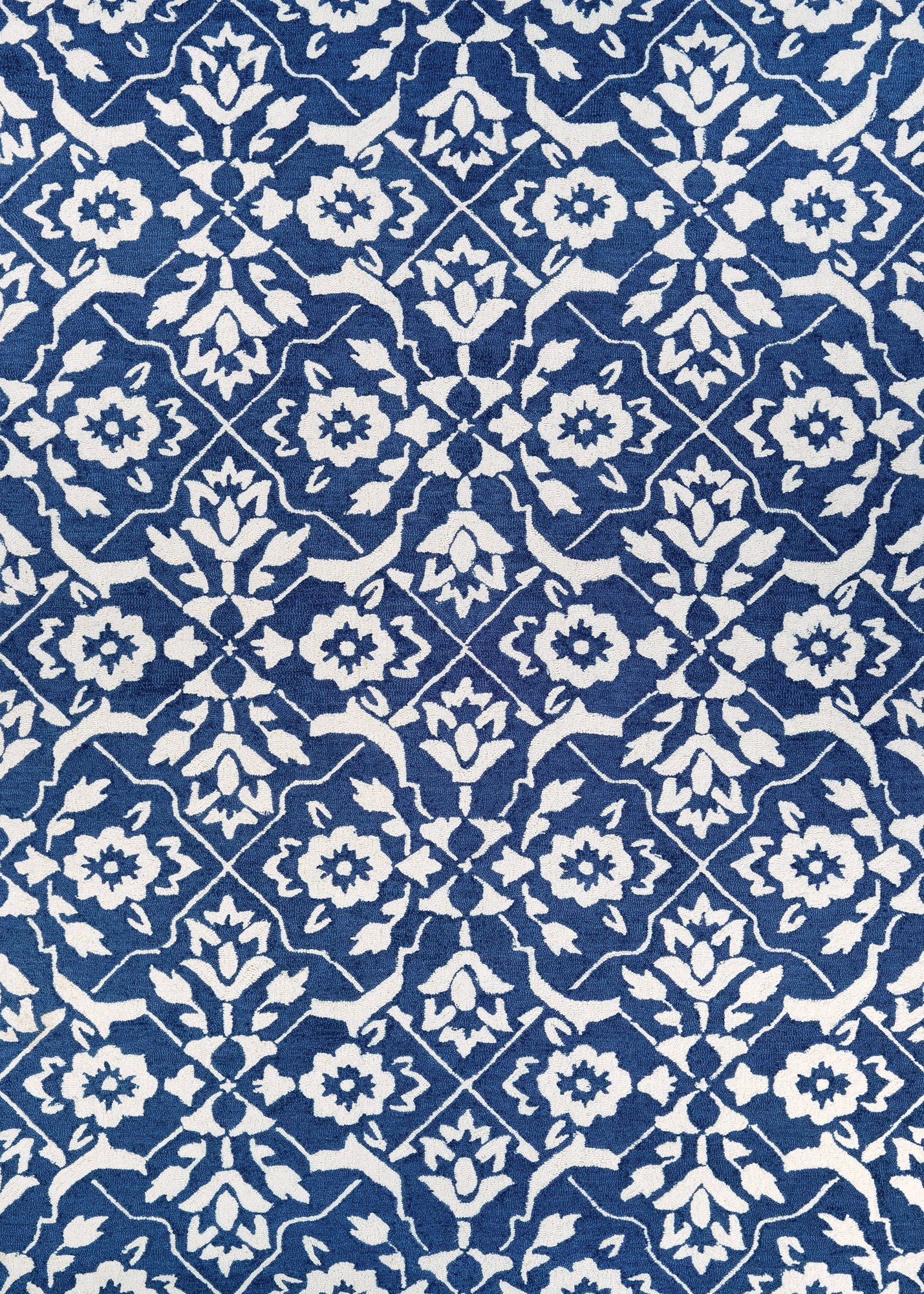 Couristan Crawford Tulip Lattice Blue/Ivory Area Rug main image
