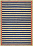 Couristan Covington Nautical Stripes Navy/Red Area Rug
