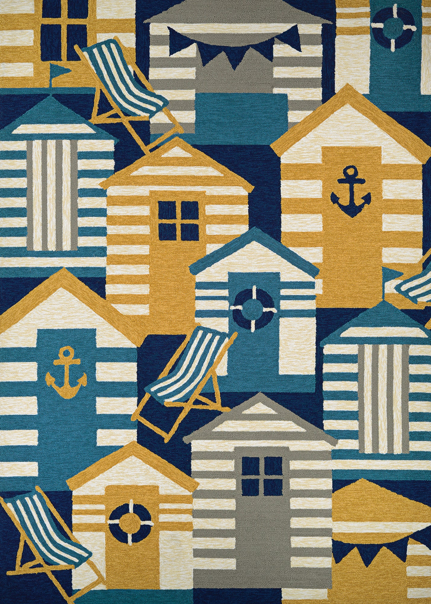 Couristan Outdoor Escape Beach Hut Navy/Multi Area Rug main image