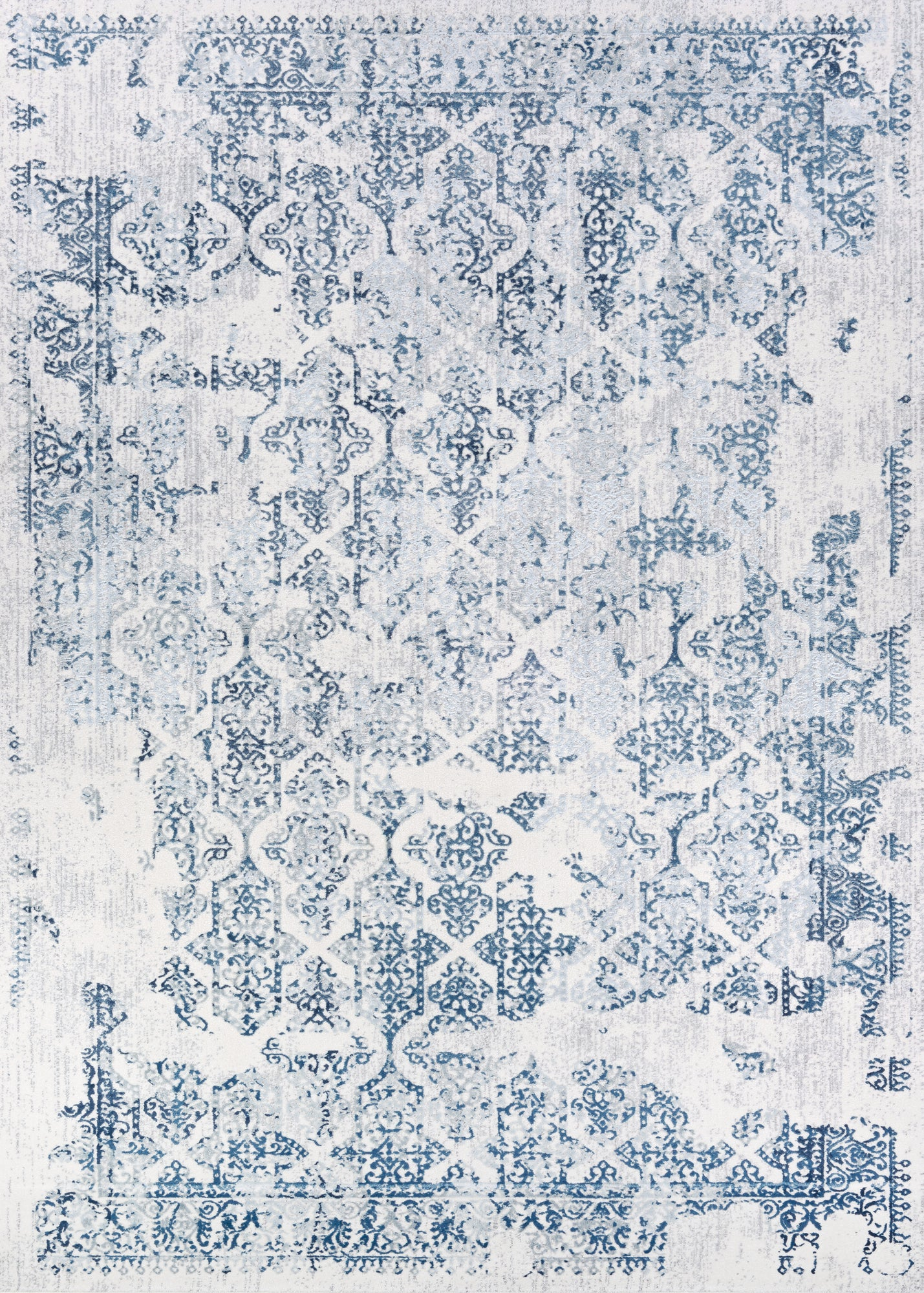 Couristan Calinda Grand Damask Steel Blue/Ivory Area Rug main image