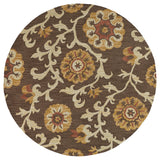 Kaleen Carriage Cornish-02 Brown Area Rug Round Shot