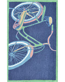 Rug Market America Kids Bike It Navy Navy/Green/Yellow Area main image