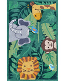 Rug Market America Kids Jungle Party Green/Gray/Brown Area 2' 8'' X 4' 8''