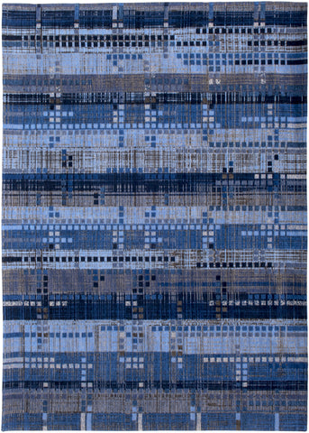 Louis de Poortere Mad Men Sky Scraper 8426 Rockefeller Blue Area Rug main image