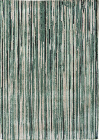 Louis de Poortere Atlantic Ocean 8592 Green Stripes Area Rug by Marie Bathellier main image