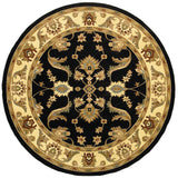 LR Resources Adana 80371 Black/Cream Machine Loomed Area Rug 6'2'' Round