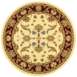 LR Resources Adana 80371 Cream/Red Machine Loomed Area Rug 9'1'' X 9' 1'' round