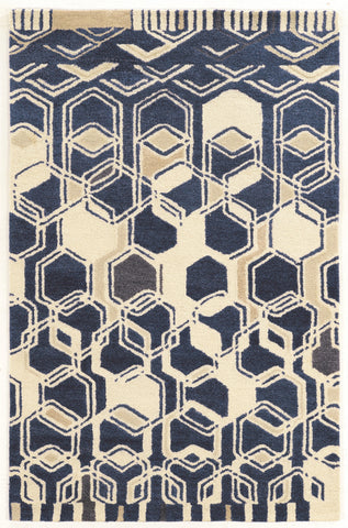 Linon Aspire Collection RUGAE06 Ivory/Navy Area Rug main image