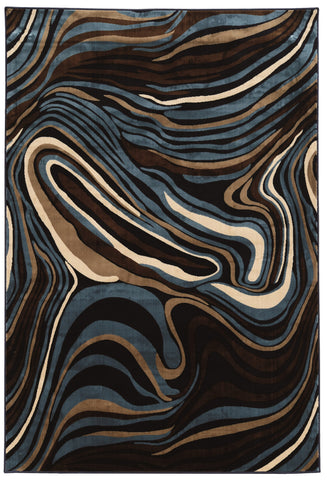 Linon Art Silk Collection RUGAK02 Navy/Blue Area Rug main image