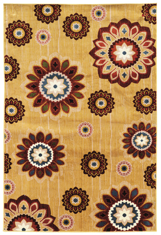 Linon Art Silk Collection RUGAK03 Gold/Burgundy Area Rug main image