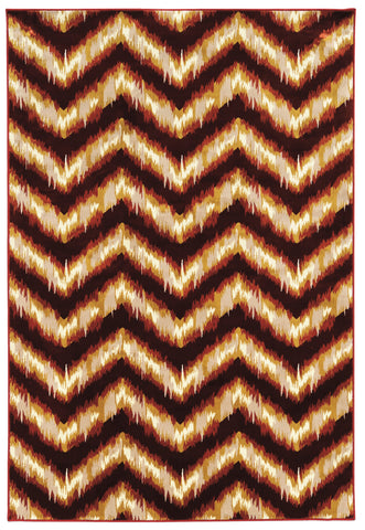 Linon Art Silk Collection RUGAK17 Burgundy/Cream Area Rug main image