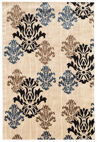 Linon Art Silk Collection RUGAK18 Ivory/Blue Area Rug main image