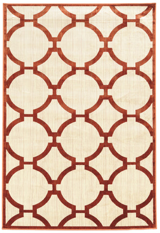 Linon Art Silk Collection RUGAK21 Ivory/Burgundy Area Rug main image