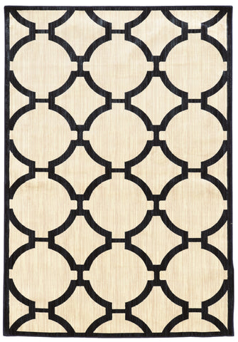 Linon Art Silk Collection RUGAK22 Ivory/Navy Area Rug main image