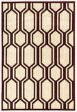 Linon Art Silk Collection RUGAK24 Ivory/Burgundy Area Rug main image