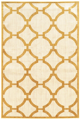 Linon Art Silk Collection RUGAK25 Ivory/Gold Area Rug main image