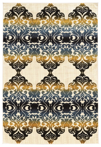Linon Art Silk Collection RUGAK29 Ivory/Navy Area Rug main image
