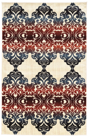 Linon Art Silk Collection RUGAK30 Ivory/Red Area Rug main image