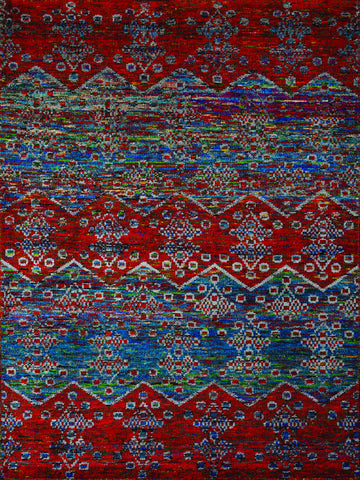 Amer Silkshine SIL-26 Blue/Red Area Rug main image